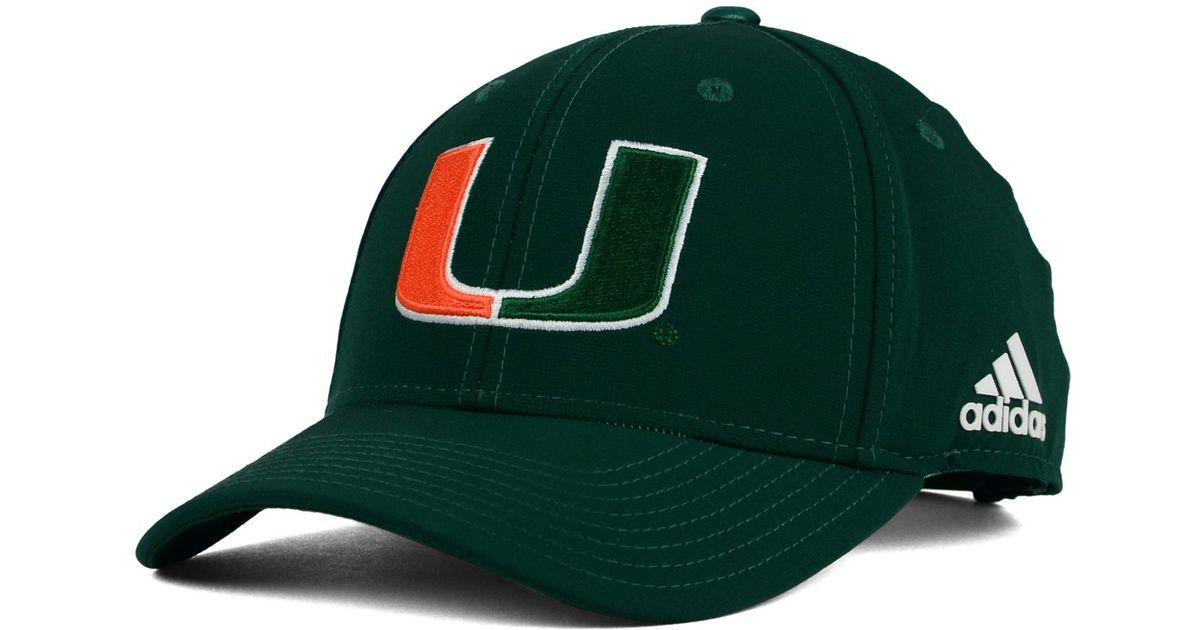 aba2a3b2020c6 Lyst - adidas Originals Miami Hurricanes Structured Adjustable Cap in Green  for Men
