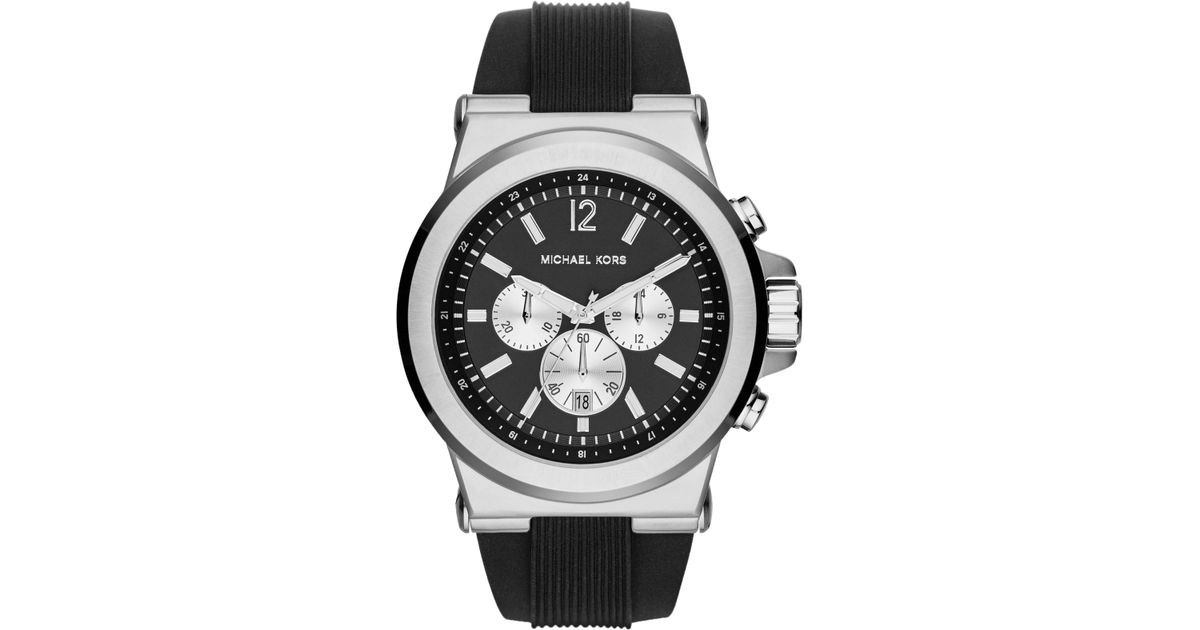 4a5ca930381e Lyst - Michael Kors Men S Chronograph Dylan Black Silicone Strap Watch 48Mm  Mk8336 in Black for Men