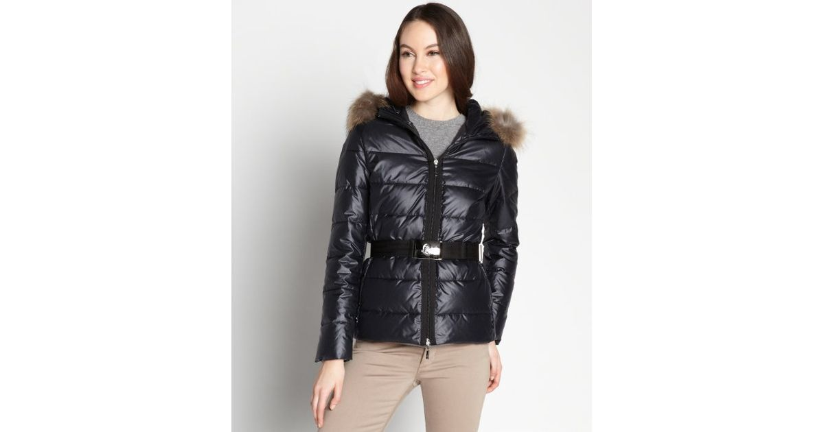 Lyst - Moncler Black Shiny Nylon Angers Quilted Fur Trim Puffer Jacket in Black