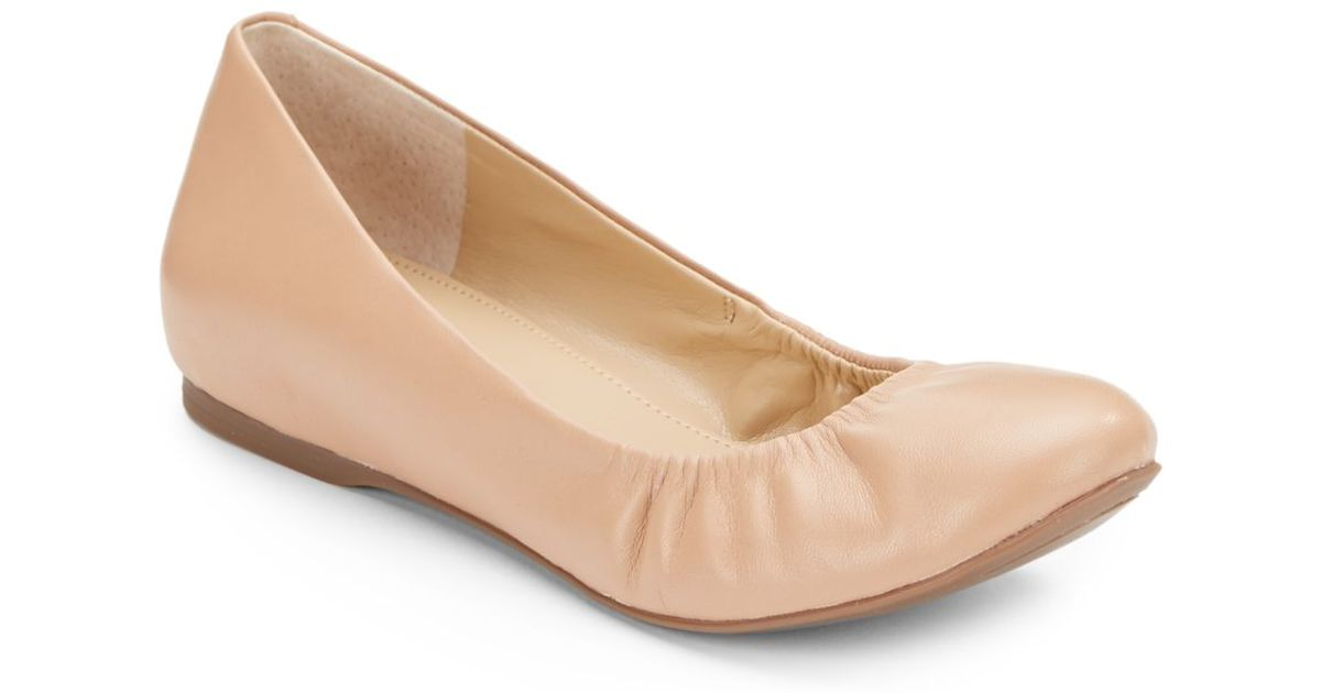 b89c1bc3551 Lyst - Saks Fifth Avenue Hidden Wedge Leather Ballet Flats in Natural