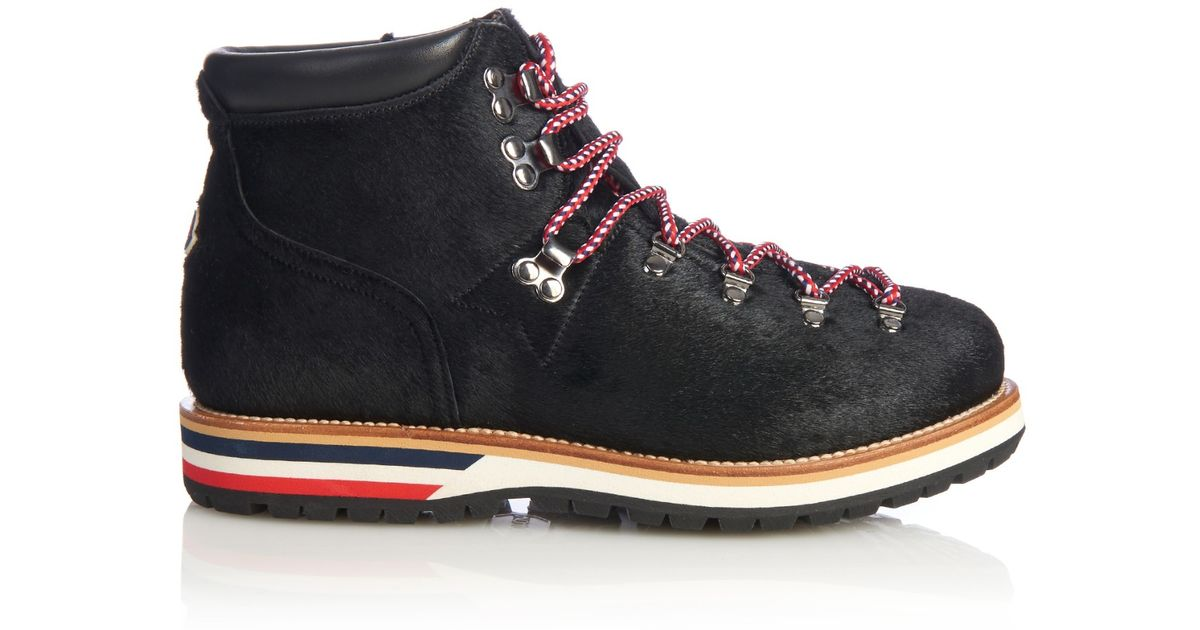 ac26f7437 Lyst - Moncler Lace-Up Calf Hair Ankle Boots in Black