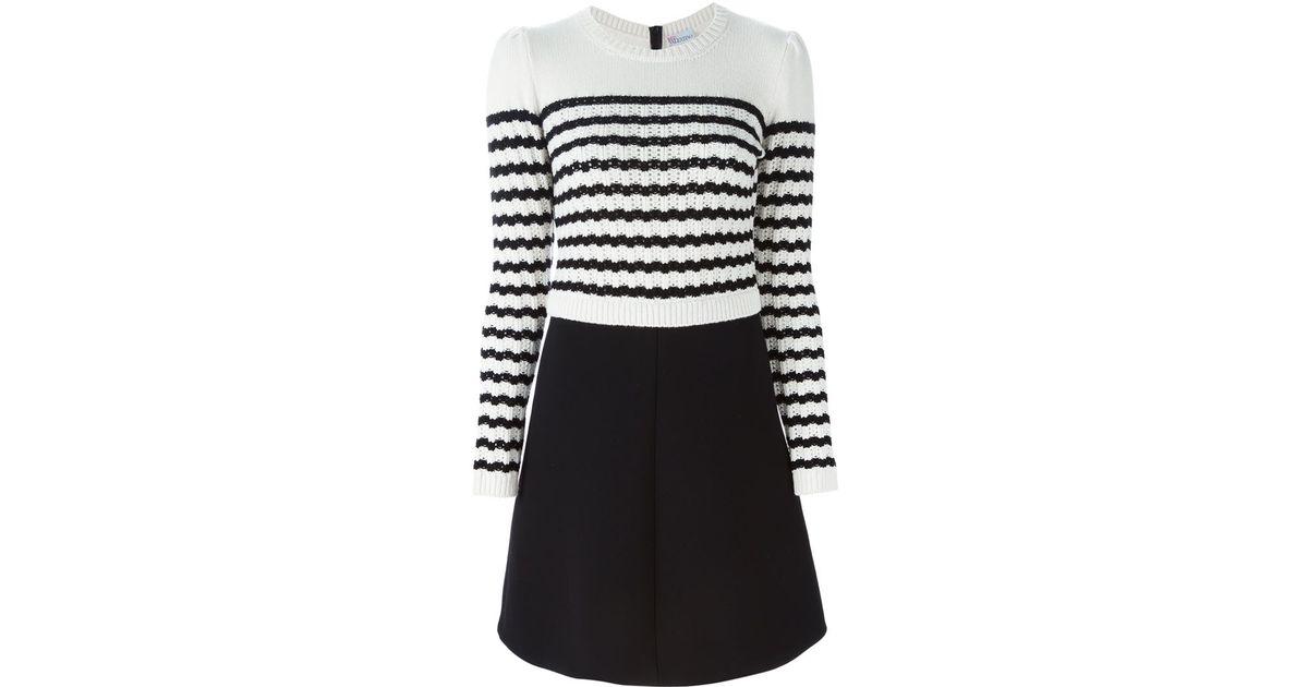 Lyst - Red Valentino Striped Sweater Dress in Black 5c1b38275