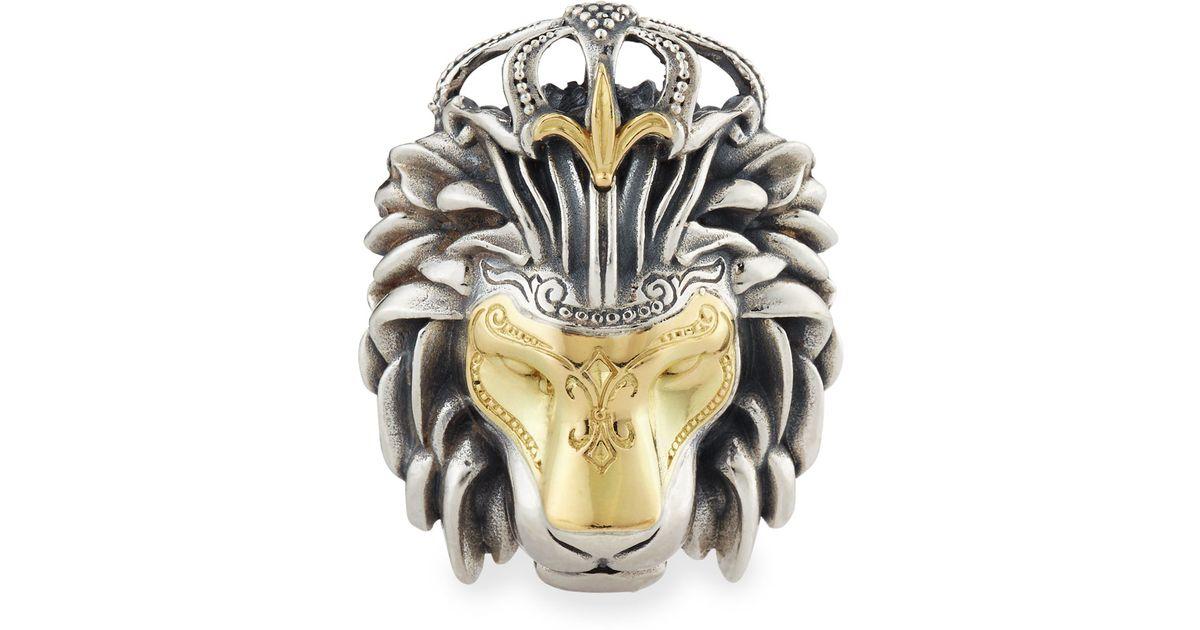 Lyst konstantino mens minos sterling silver gold lion head lyst konstantino mens minos sterling silver gold lion head pendant in metallic for men aloadofball Choice Image