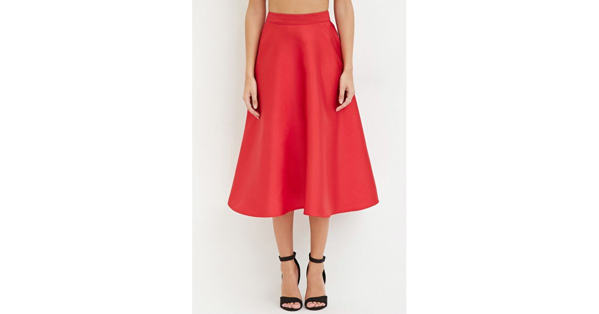 forever 21 contemporary a line midi skirt in lyst