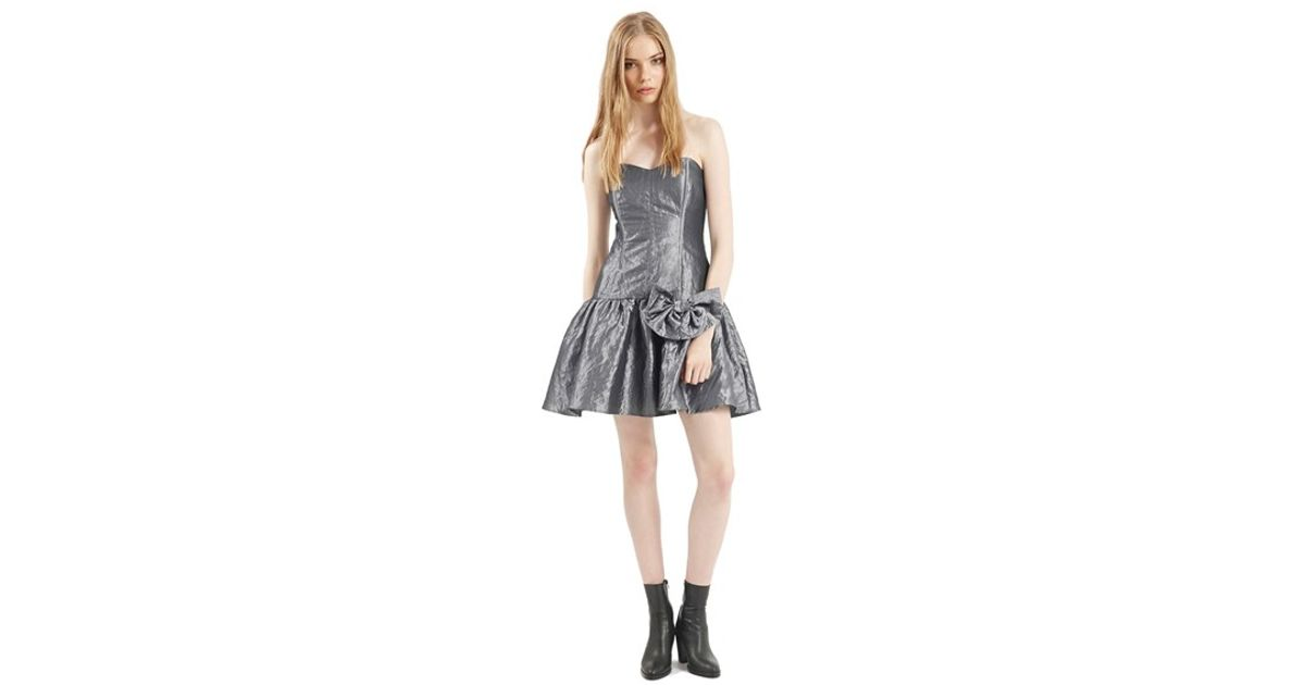 Lyst - Topshop Archive Collection Taffeta Prom Dress in Gray