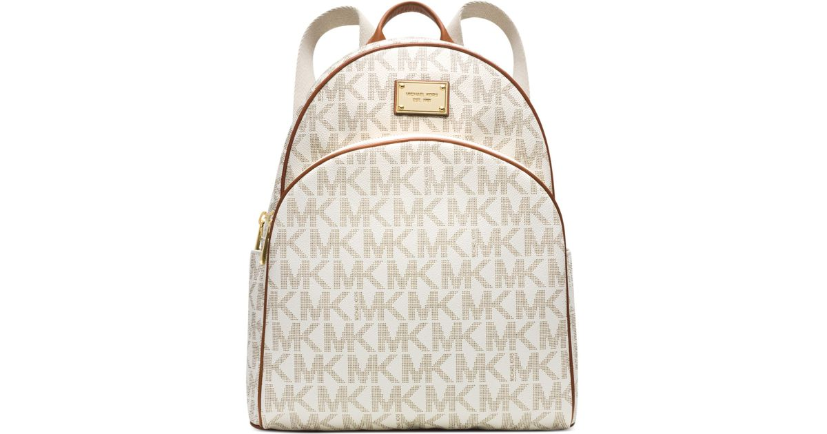 9e4a4fff4c9f6a Michael Kors Michael Signature Large Backpack in White - Lyst