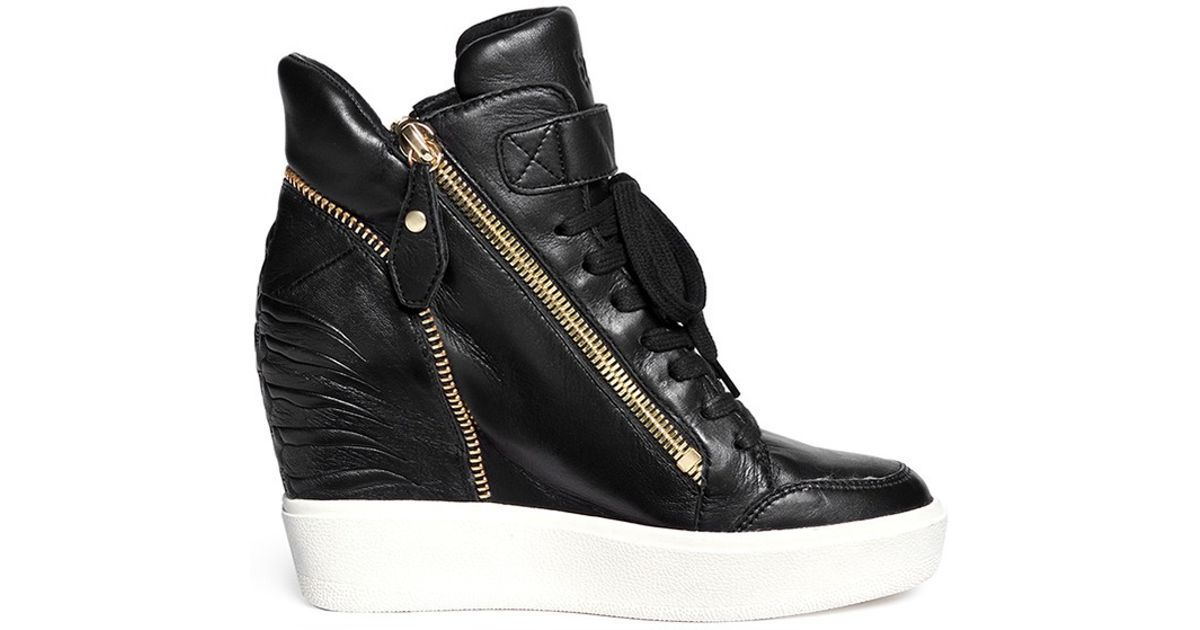 60642625086ba Lyst - Ash  alfa  Embossed Ribcage Leather Wedge Sneakers in Black