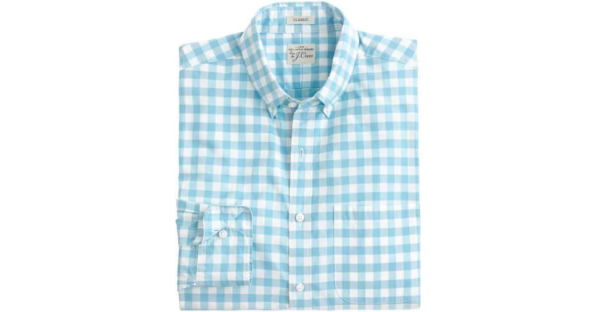 Secret wash shirt in blue gingham in teal for men for Aqua blue mens dress shirt