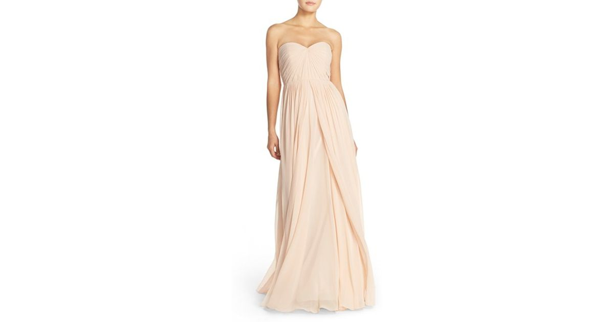 Lady Angel Free Shipping Short Beige Chiffon Bridesmaid: Jenny Yoo 'mira' Convertible Strapless Pleat Chiffon Gown