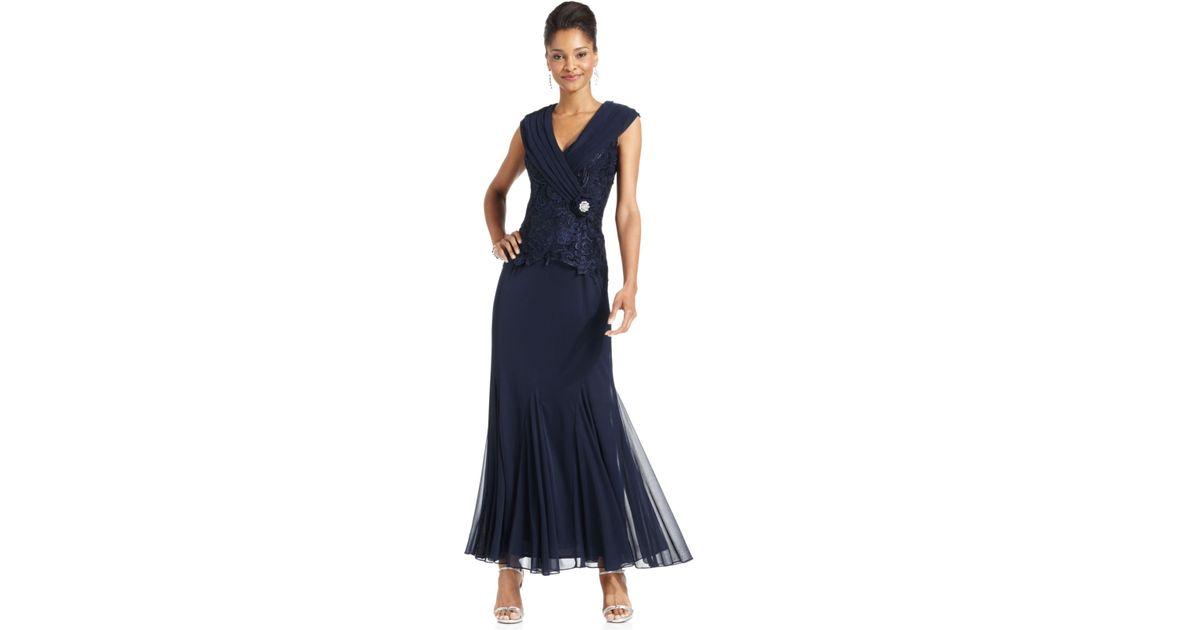 Patra dress cap-sleeve lace godet gown