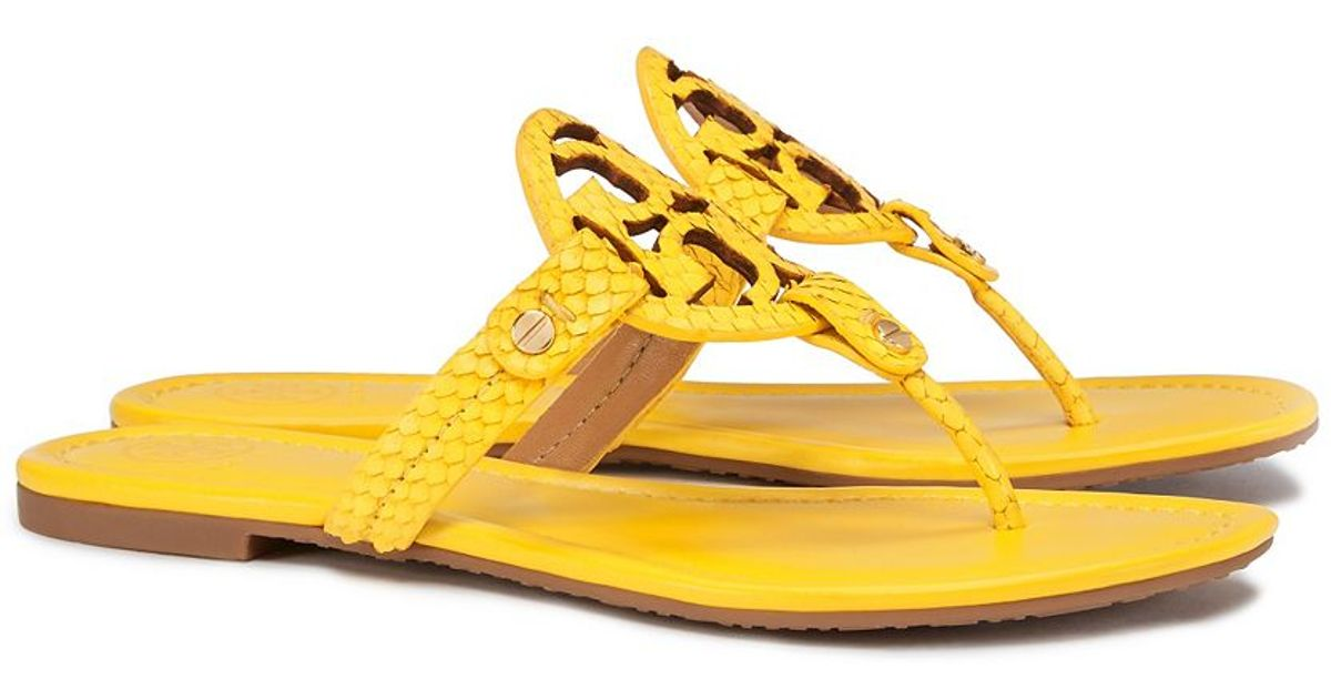 52c5eb64434 Lyst - Tory Burch Miller Embossed-Leather Sandals in Yellow