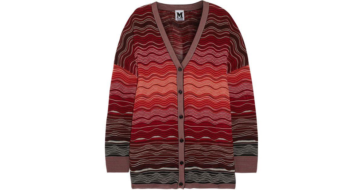 Lyst - M Missoni Crochet-knit Cardigan in Red 24f999706