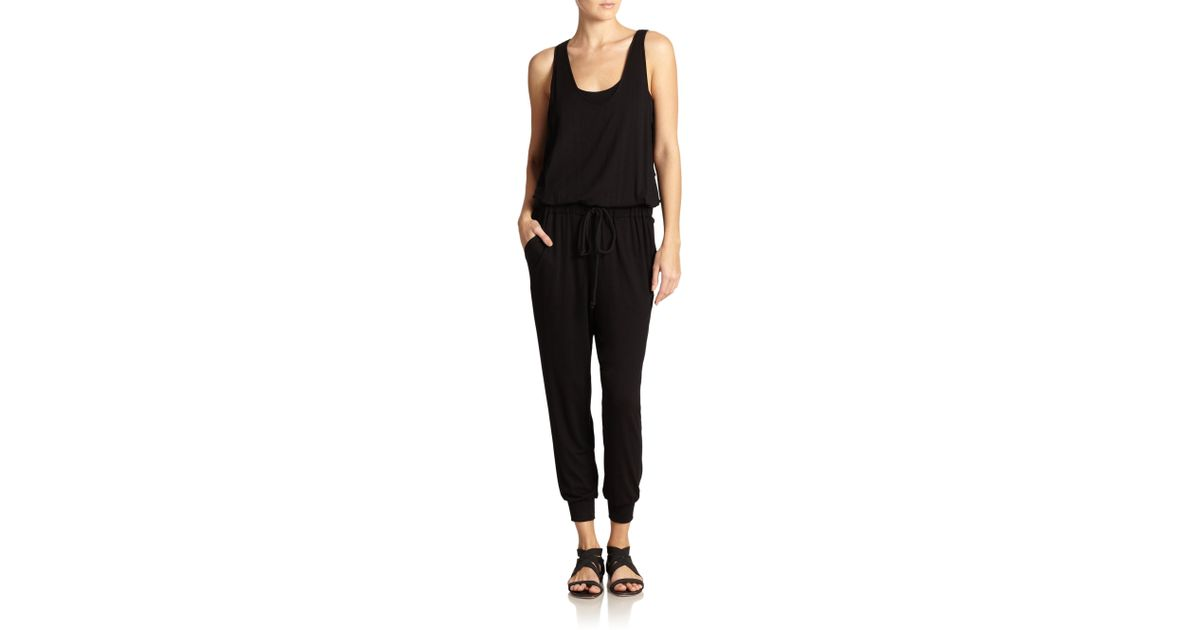 5998d477b8 Lyst - Elizabeth and James Loa Drawstring Jumpsuit in Black
