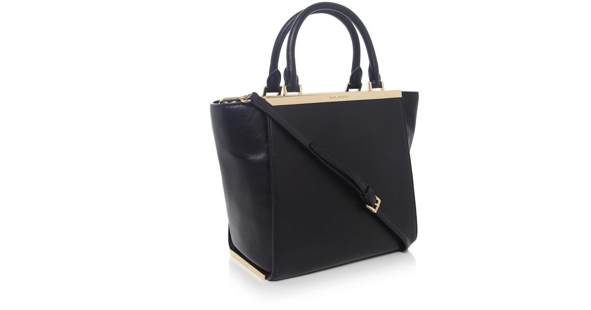 dcac332cdf2d48 ... cheap lyst michael michael kors lana medium leather tote bag in black  d4ff6 d1065