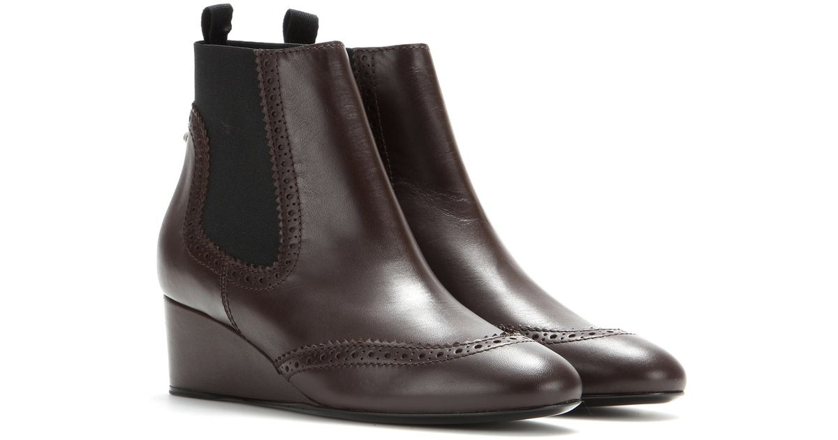 balenciaga leather wedge boots in brown lyst