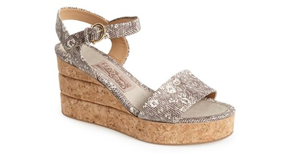4d080e616ff Lyst - Ferragamo  madea  Wedge Sandal in Gray