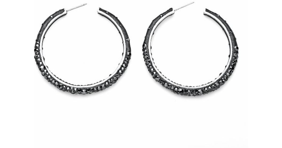 Lyst Palmbeach Jewelry Jet Black Crystal Hoop Earrings Made With Swarovski Elements In Silvertone