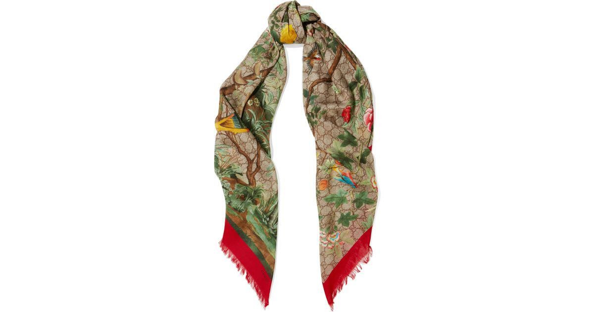 gucci gg tian printed modal and silk blend scarf in beige