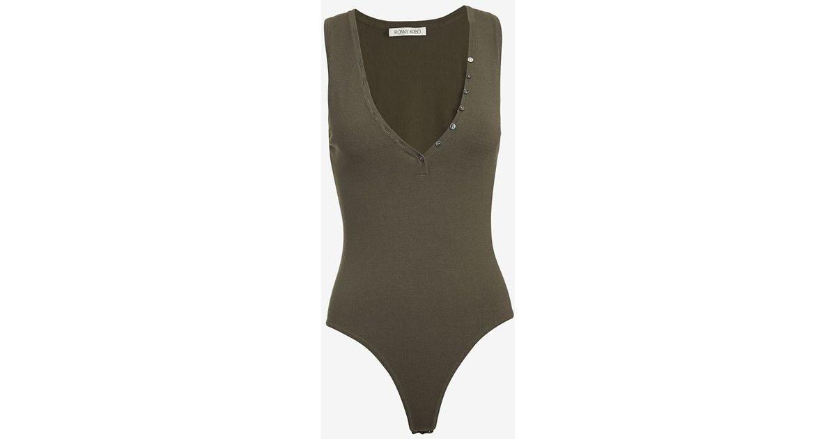 Lyst - Ronny Kobo Henley Bodysuit in Green 3e0de6e81