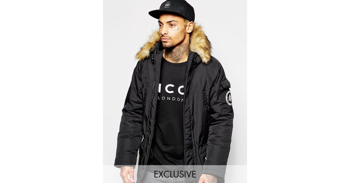Nicce london Parka With Faux Fur Hood in Black for Men | Lyst
