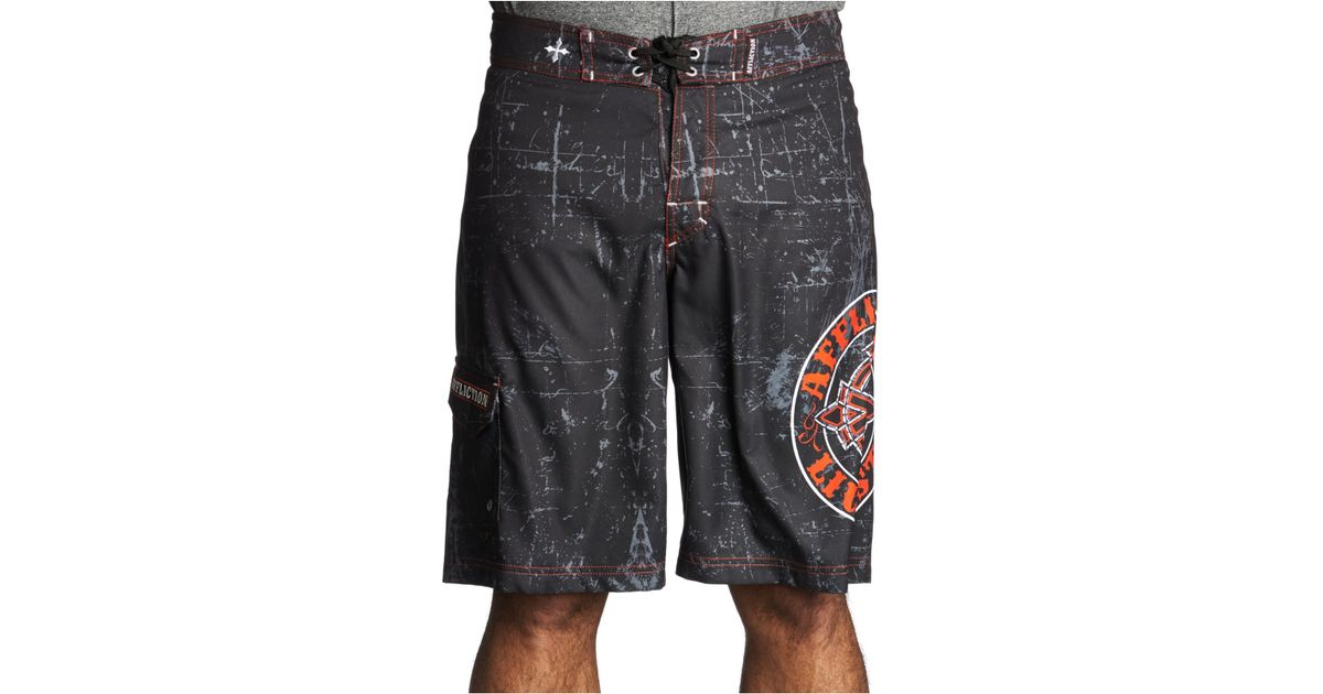 3505e10894 Lyst - Affliction Royal Chromatic Board Shorts in Black for Men