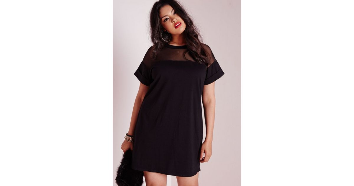 bd0ad823ec708 Lyst - Missguided Plus Size Mesh Panel T-shirt Dress Black in Black