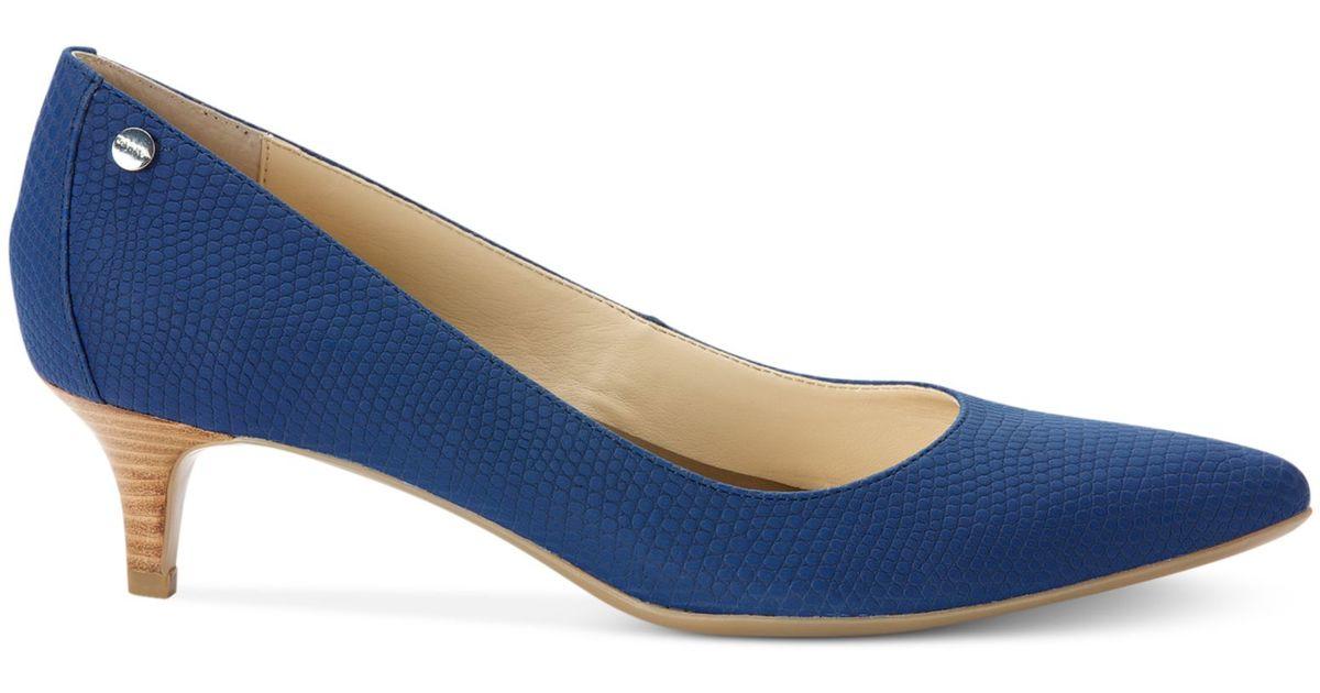d20af3c70a8 Lyst - Calvin Klein Womens Nicki Kitten Heel Pumps in Blue