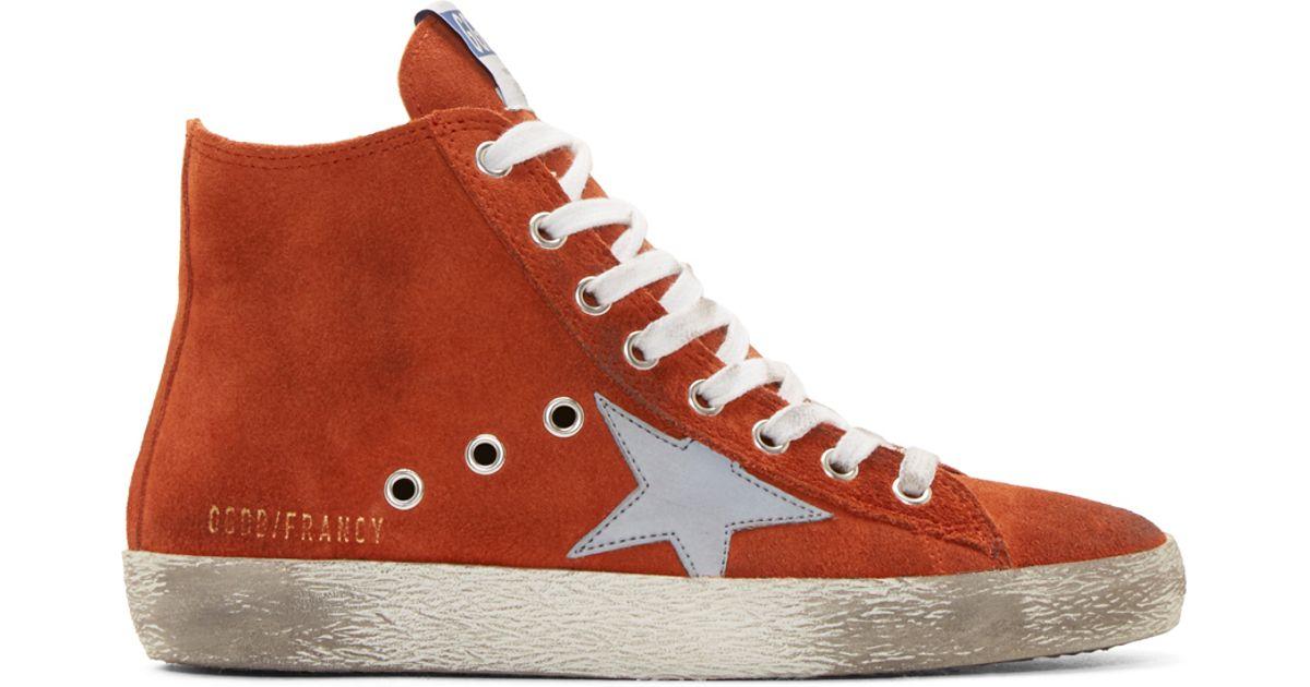 37186e1713bd Lyst - Golden Goose Deluxe Brand Orange Suede Francy High-top Sneakers in  Orange for Men