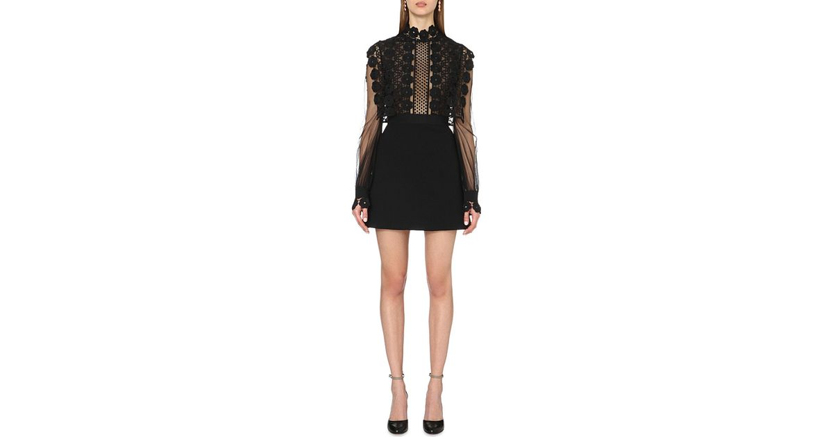 73cbd180a69f Self-Portrait Balloon-sleeved Lace-embroidered Dress in Black - Lyst