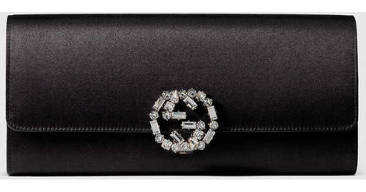 a372f548f5c Lyst - Gucci Broadway Satin Evening Clutch in Black