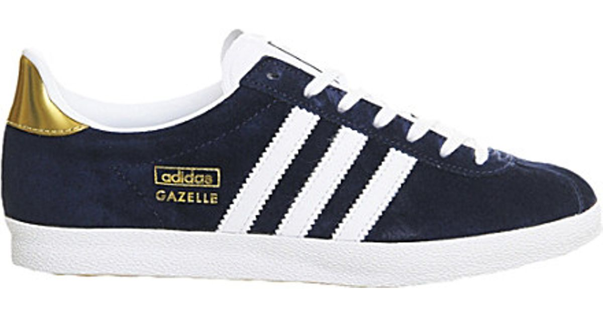 new style 73693 18571 adidas Gazelle Og Trainers, Womens, Size 6, Indigo White Gold in Blue -  Lyst