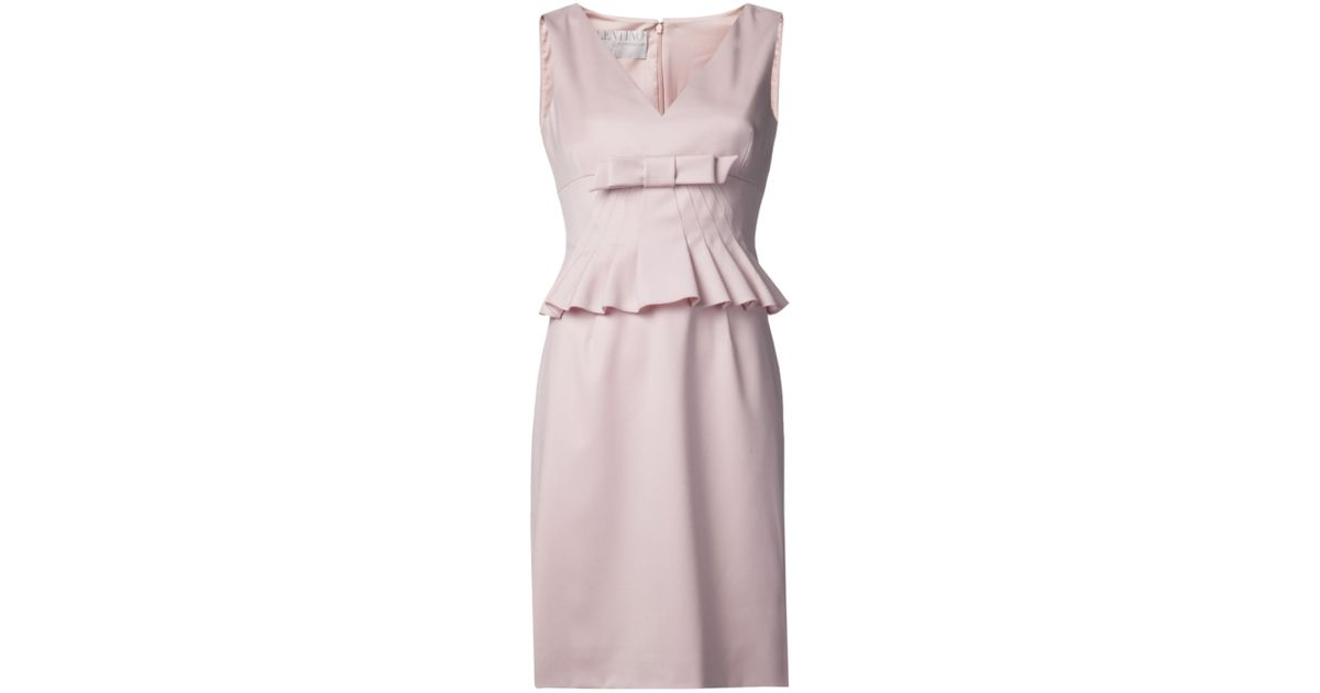 Lyst - Valentino Bow Peplum Dress in Pink