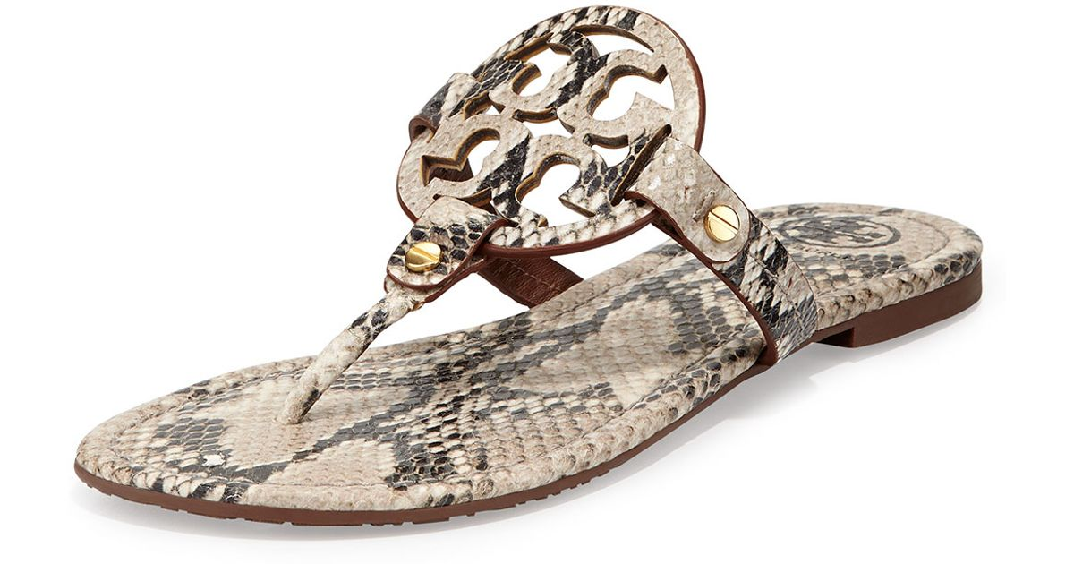 cda721f6a Lyst - Tory Burch Miller Lizardprint Leather Thong Sandals in Natural