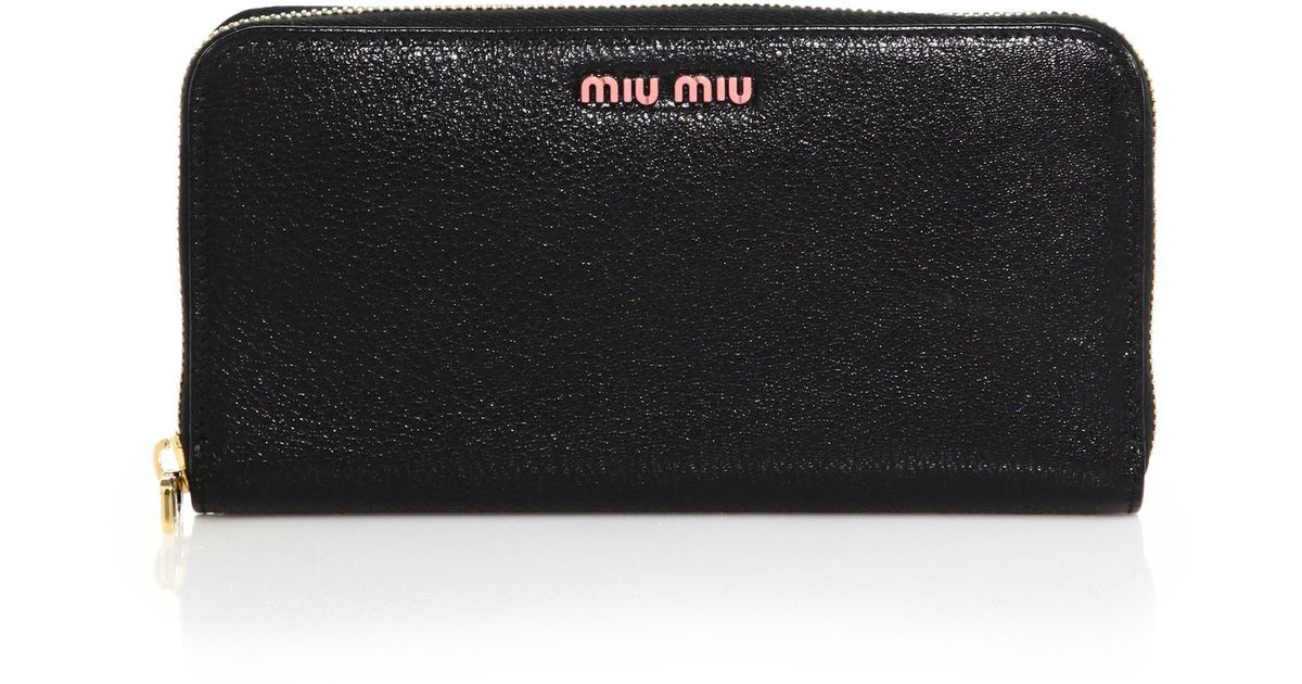 Lyst - Miu Miu Madras Zip-around Continental Leather Wallet in Black 01e8085c5b1c