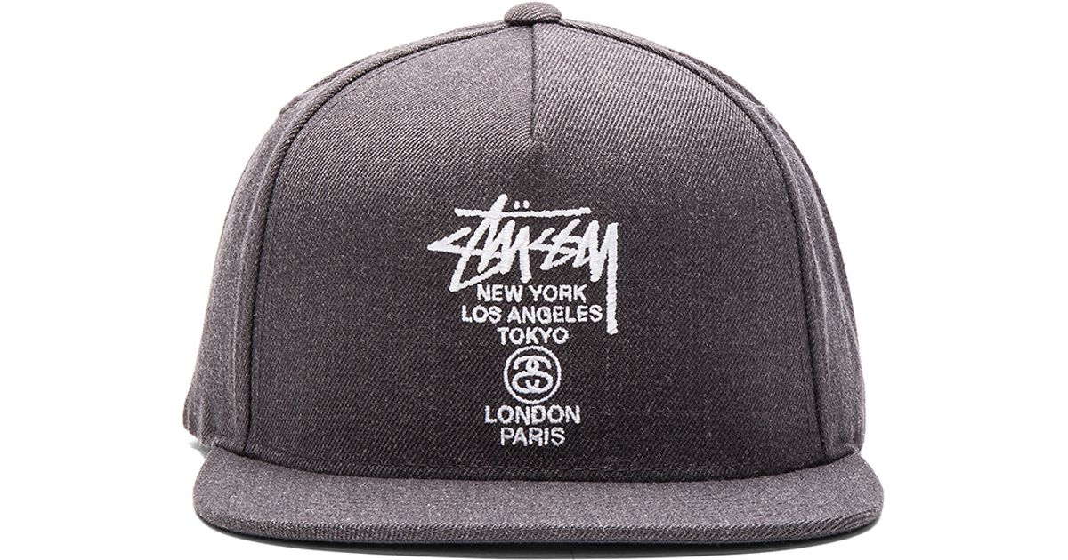 e30a442f927 ... arriving d0bb6 102ad Lyst - Stussy World Tour Ho15 Snapback in Gray for  Men ...