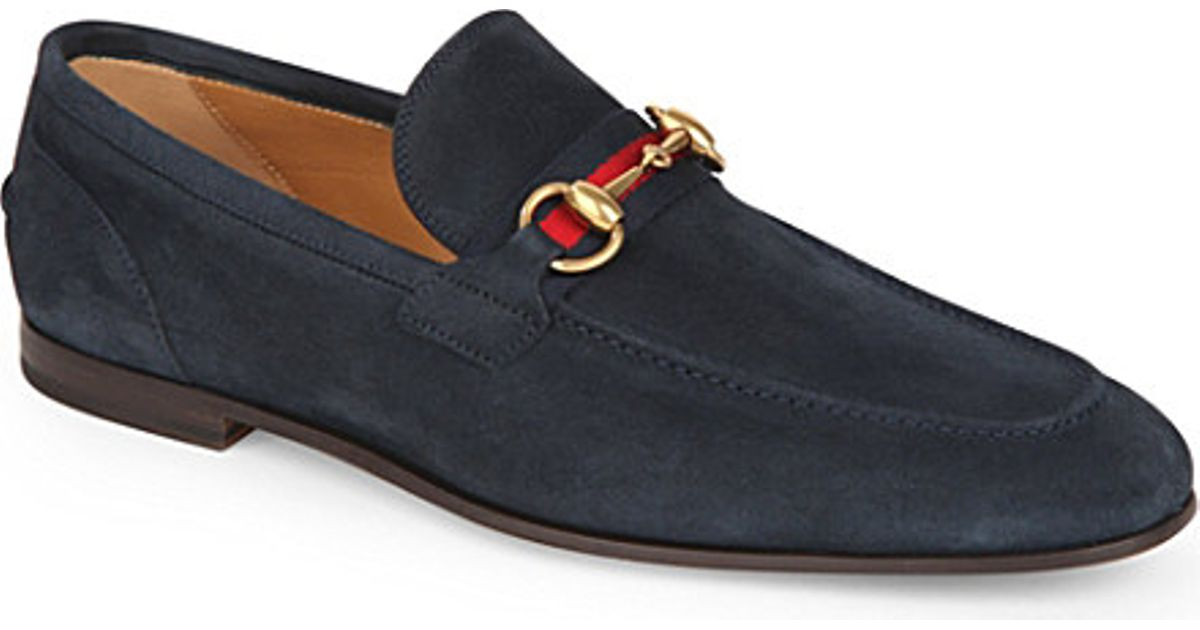 fdafb74ad Gucci Horsebit Web Suede Shoes - For Men in Blue for Men - Lyst