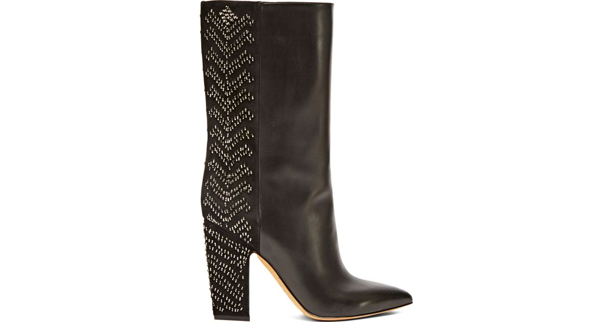 valentino s sequin embroidered boots in black