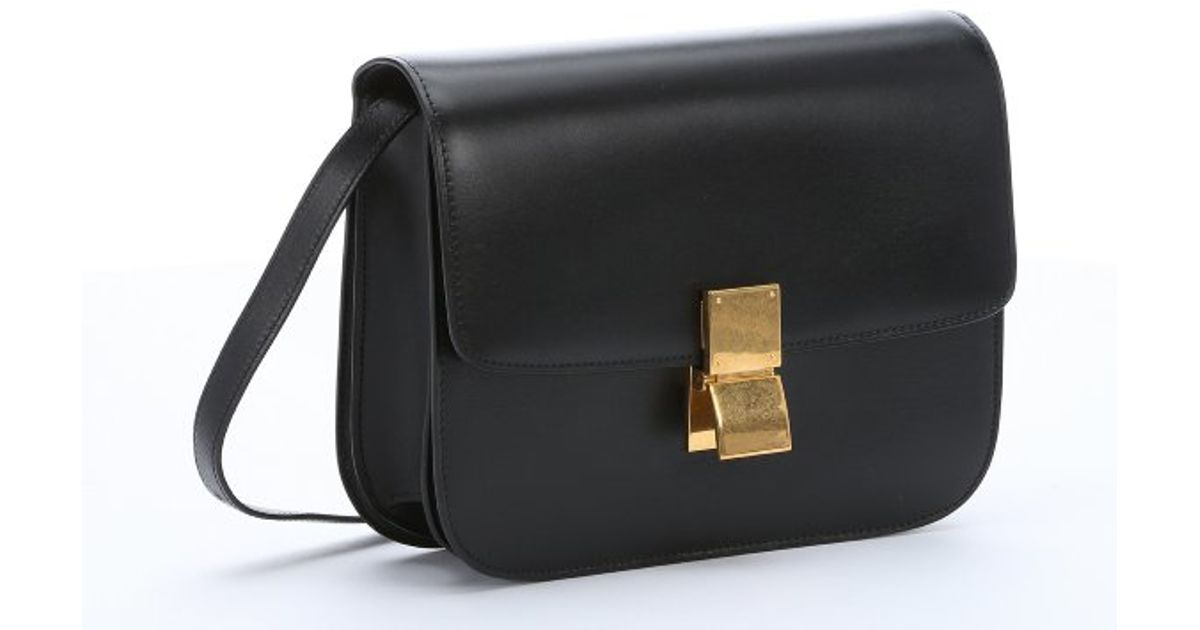 celine black leather clutch bag classic