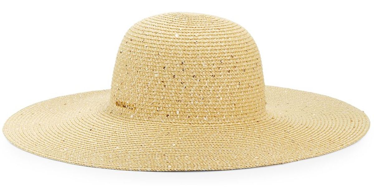 6ae355fc Calvin Klein Sequined Straw Hat in Natural - Lyst