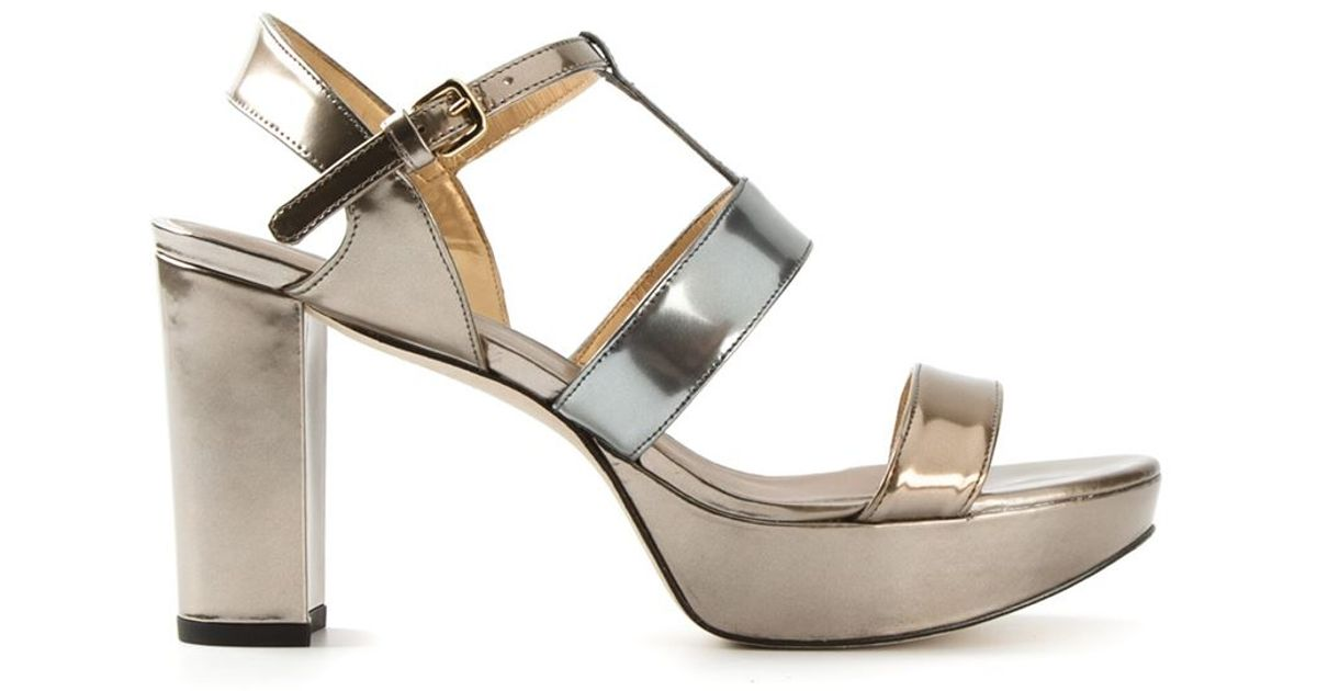 Stuart weitzman Metallic Chunky Heel Sandals in Metallic | Lyst