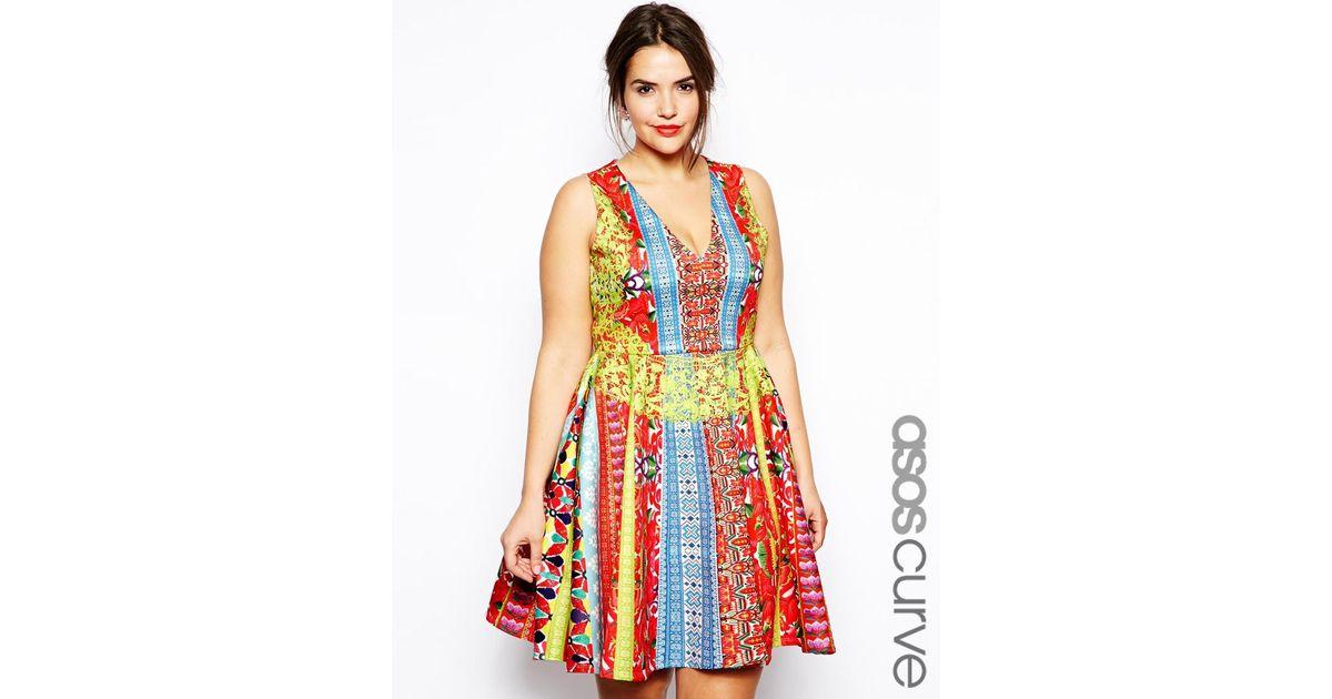 22684f1244f0 Lyst - ASOS Skater Dress in Indie Summer Print