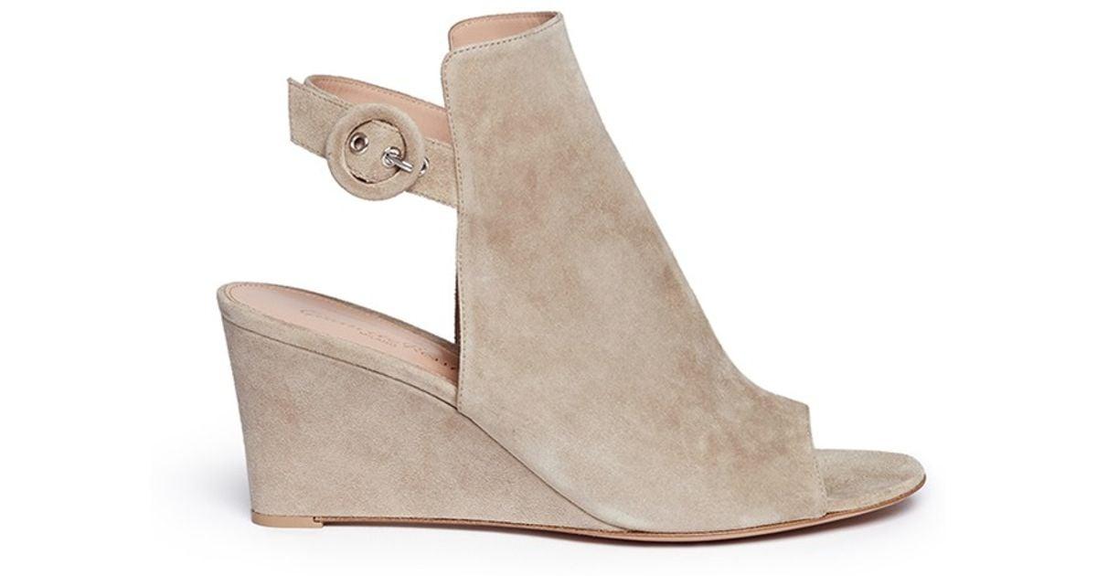 Gianvito Rossi Suede Wedge Sandals k35B2J