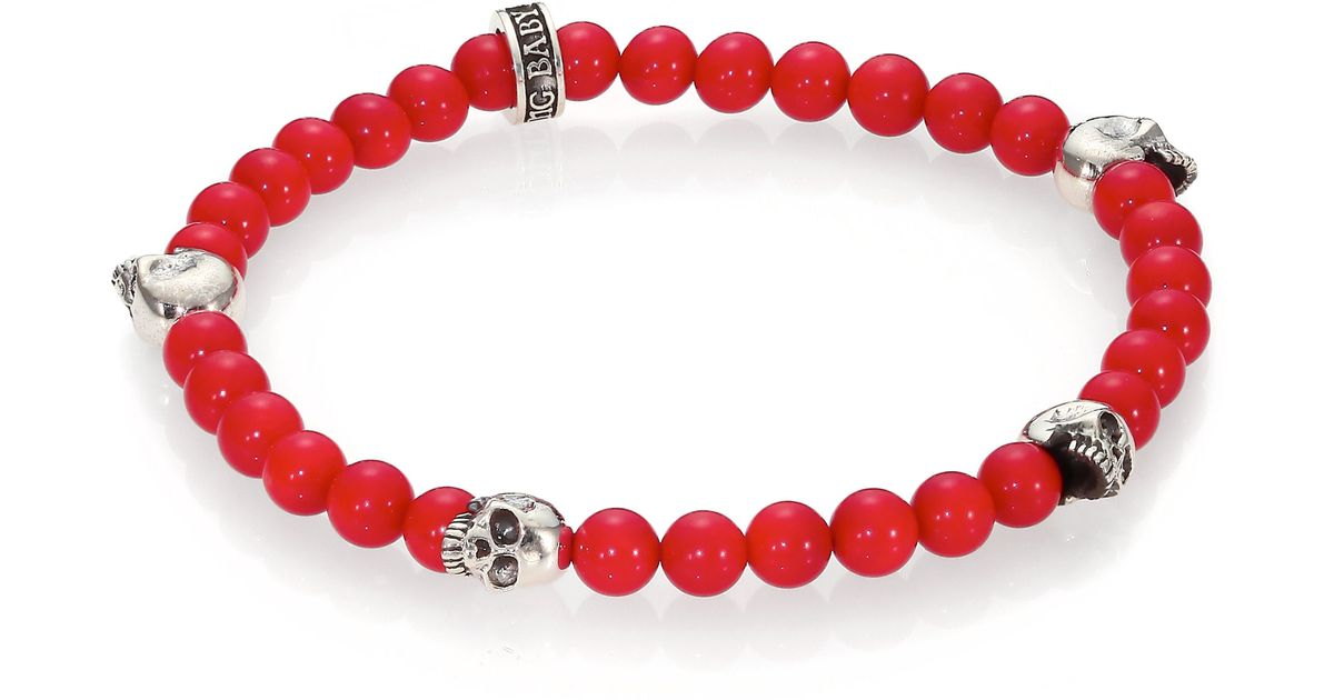King baby studio red coral beaded bracelet in red for men for King baby jewelry sale