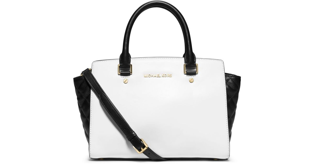 9e66a5ab4999db ... closeout lyst michael kors selma medium color block leather satchel in  white 2f062 9b368