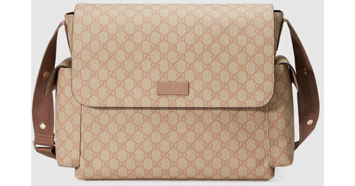 Lyst - Gucci Gg Supreme Diaper Bag in Pink ed3f4c0eae50