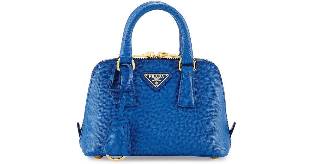 a72fb2ed7aa9 ... discount code for lyst prada mini saffiano promenade bag in blue 10332  4d580