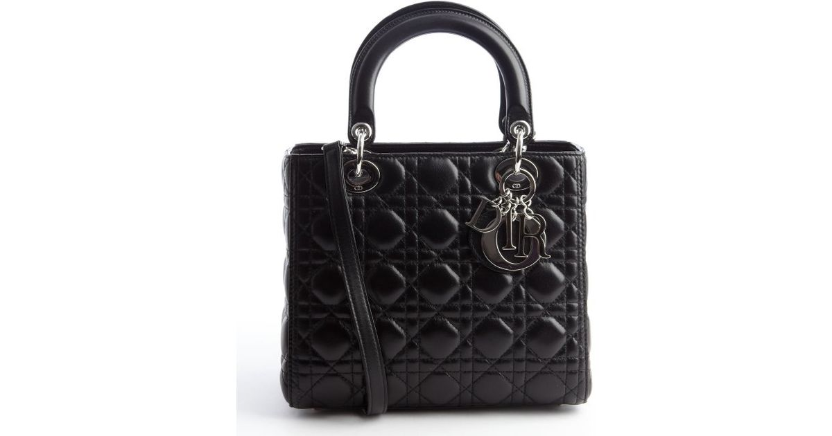 Dior Black Quilted Lambskin Lady Dior Medium Convertible Tote Bag in Black  - Lyst f852a34dfea67