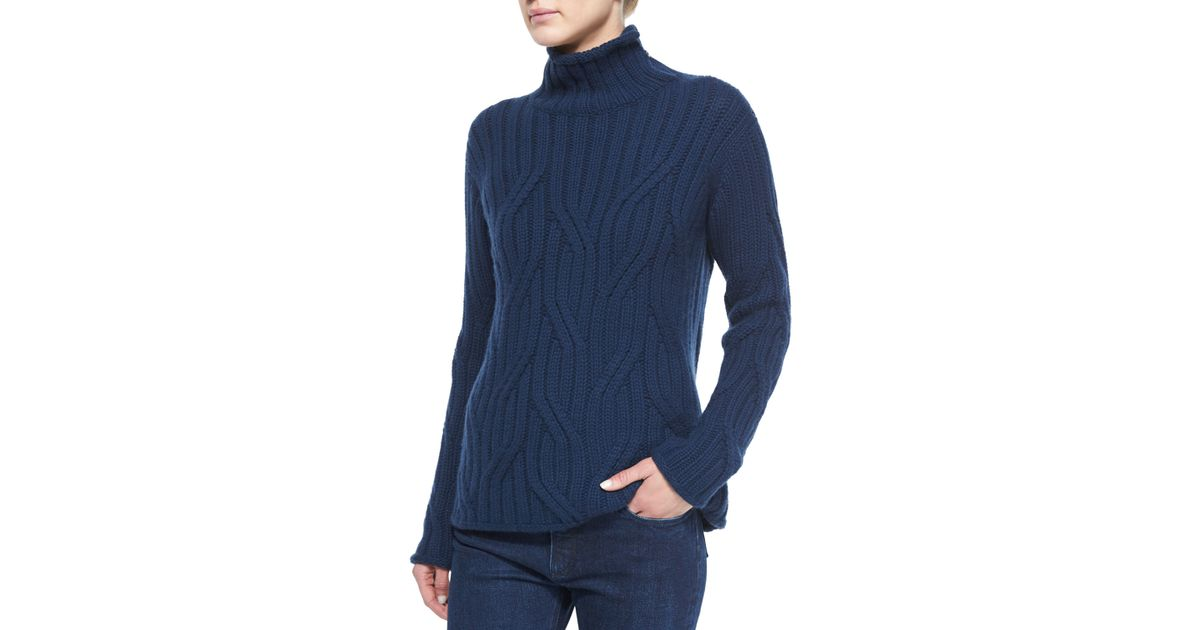 55dcd1d803f7 Lyst - Loro Piana Funnel-neck Twist Knit Sweater in Blue