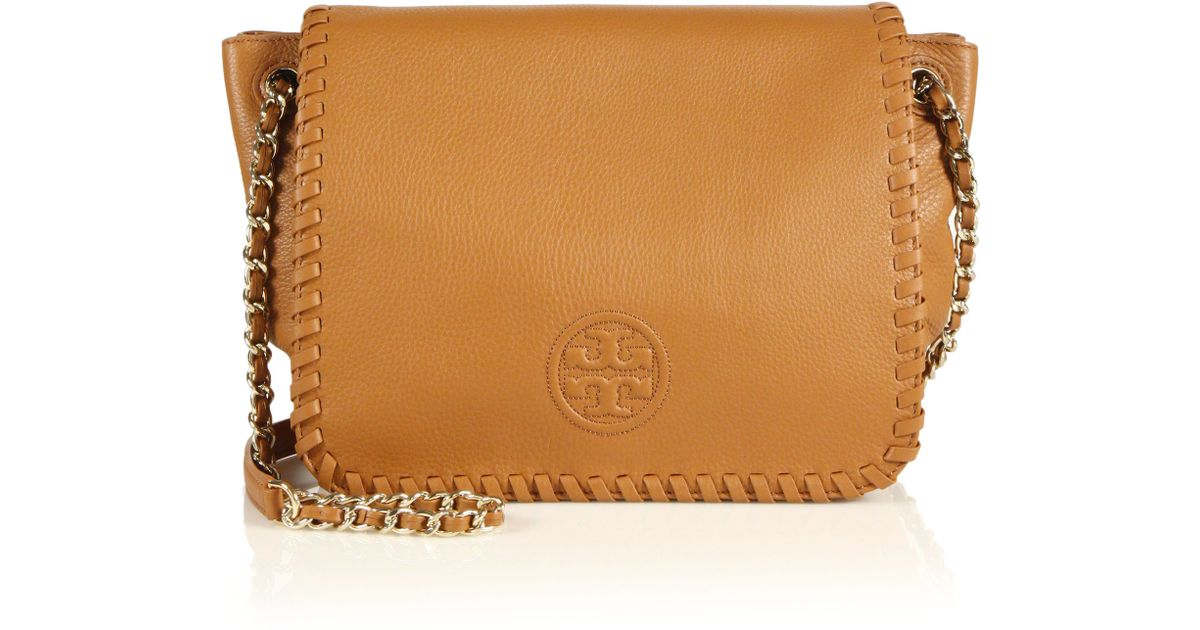 2e1799196d8b Lyst - Tory Burch Marion Small Leather Flap Shoulder Bag in Brown