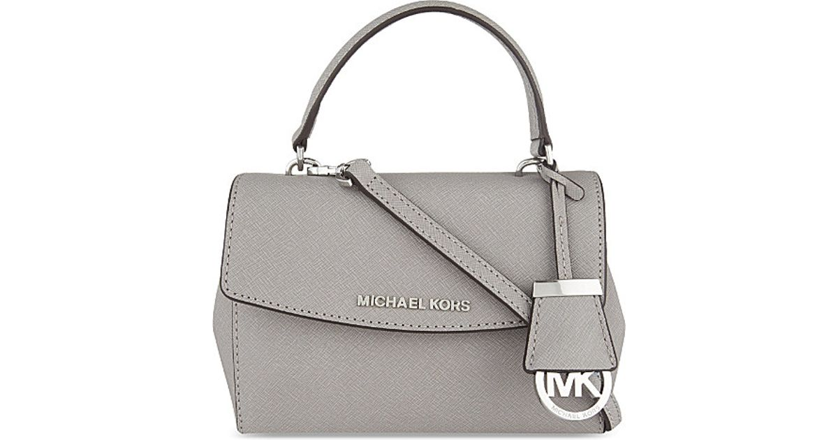 6cf316ea1619 MICHAEL Michael Kors Ava Extra-small Saffiano Leather Cross-body Bag in Gray  - Lyst
